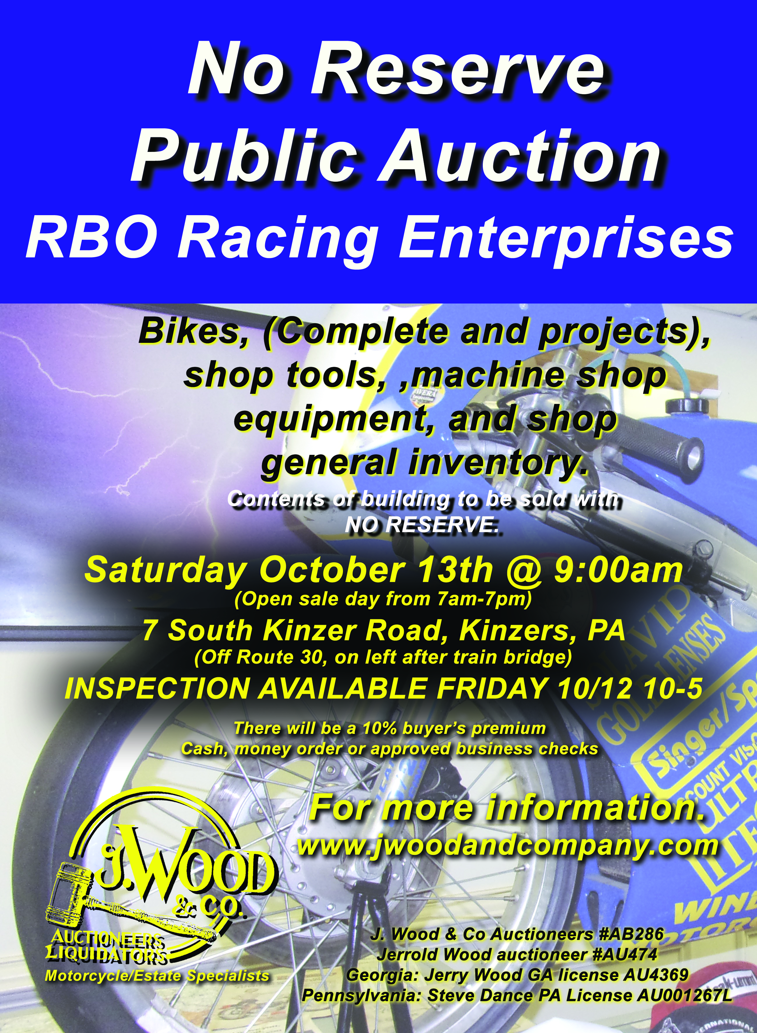 RBO Racing Enterprises Public Auction Oct 13, 2018